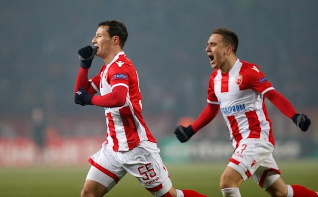 Soccer Football - Europa League - Red Star Belgrade vs FC Cologne - Rajko Mitic Stadium, Belgrade, Serbia - December 7, 2017 Red Star Belgrade's Slavoljub Srnic celebrates scoring their first goal with Branko Jovicic REUTERS/Novak Djurovic