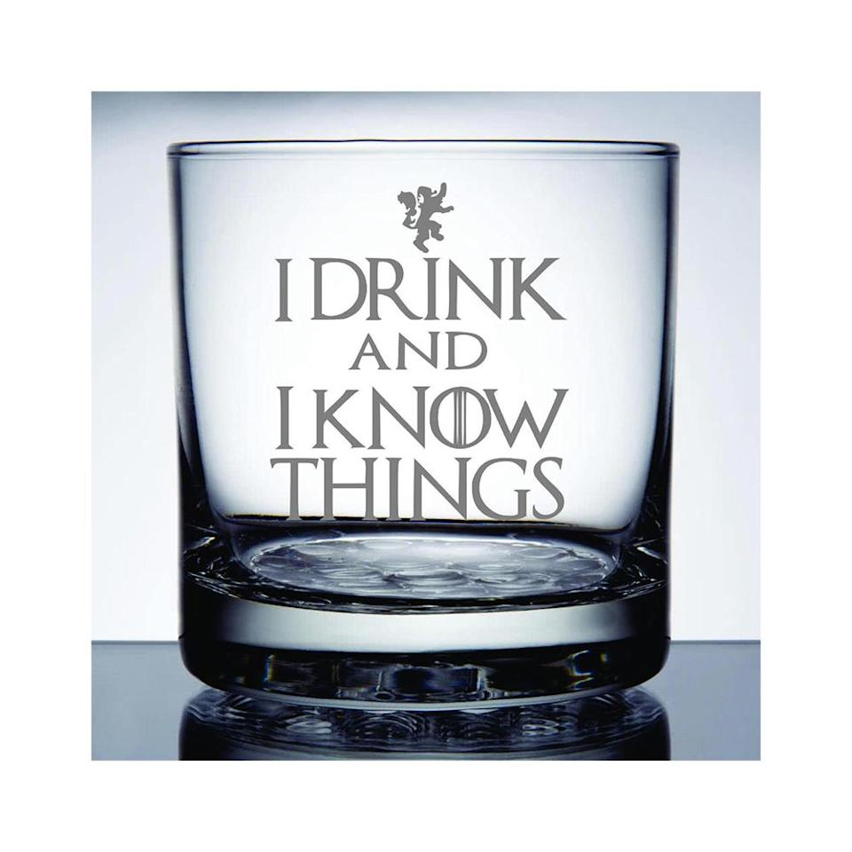 """<p>If he's team Tyrion Lannister, spruce up his bar with a couple of rocks glasses etched with an iconic quote from the Casterly Rock native. <br><strong><a href=""""https://fave.co/2VTf2cZ"""" rel=""""nofollow noopener"""" target=""""_blank"""" data-ylk=""""slk:Shop it"""" class=""""link rapid-noclick-resp"""">Shop it</a>:</strong> $12, <a href=""""https://fave.co/2VTf2cZ"""" rel=""""nofollow noopener"""" target=""""_blank"""" data-ylk=""""slk:etsy.com"""" class=""""link rapid-noclick-resp"""">etsy.com</a> </p>"""