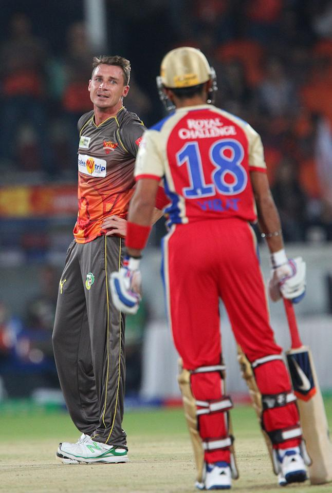 Dale Steyn reacts after appealing for the wicket of Virat Kohli during match 7 of the Pepsi Indian Premier League between The Sunrisers Hyderabad and Royal Challengers Bangalore held at the Rajiv Gandhi International Stadium, Hyderabad on the 7th April 2013..Photo by Ron Gaunt-IPL-SPORTZPICS ..Use of this image is subject to the terms and conditions as outlined by the BCCI. These terms can be found by following this link:..https://ec.yimg.com/ec?url=http%3a%2f%2fwww.sportzpics.co.za%2fimage%2fI0000SoRagM2cIEc&t=1503392475&sig=VUAQv7Pou0umpzFA18c1tA--~D