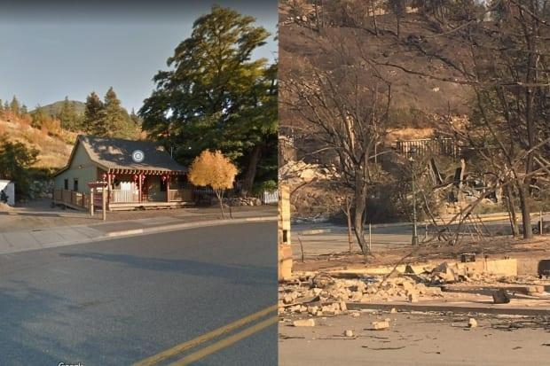 The Lytton Chinese History Museum is pictured before and after wildfire destroyed much of the village on June 30. (Google Maps, Facebook/Lytton Chinese History Museum  - image credit)