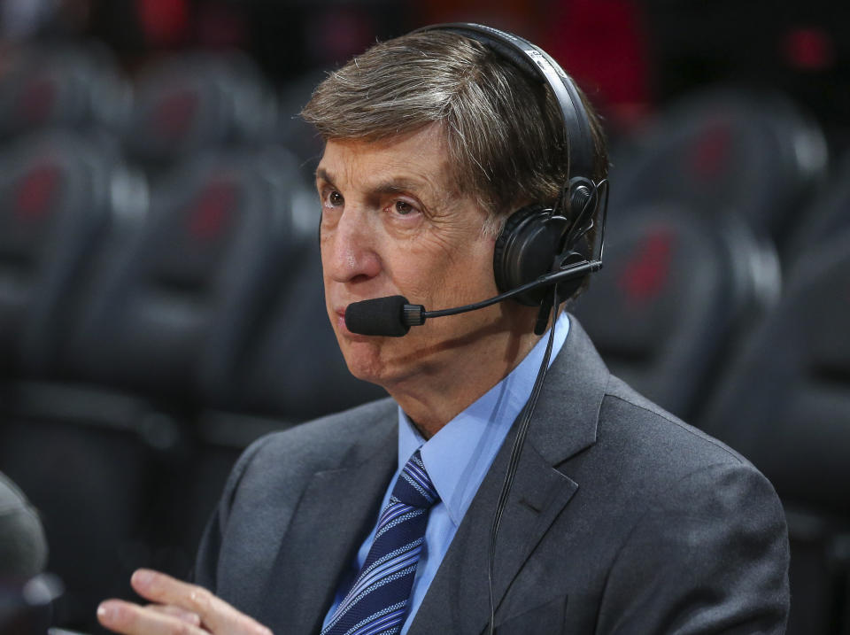 Mar 5, 2020; Houston, Texas, USA; Broadcaster Marv Albert before a game between the Houston Rockets and the Los Angeles Clippers at Toyota Center. Mandatory Credit: Troy Taormina-USA TODAY Sports