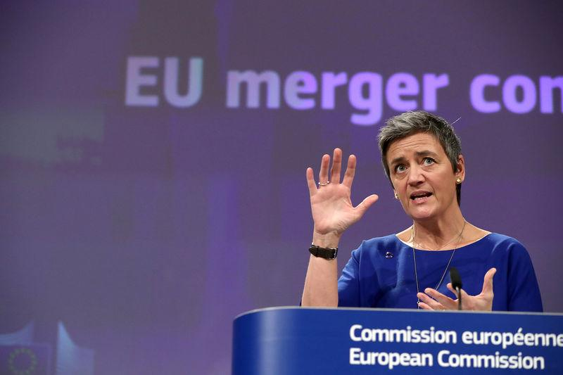 FILE PHOTO: EU Competition Commissioner Vestager talks to the media at the European Council headquarters in Brussels