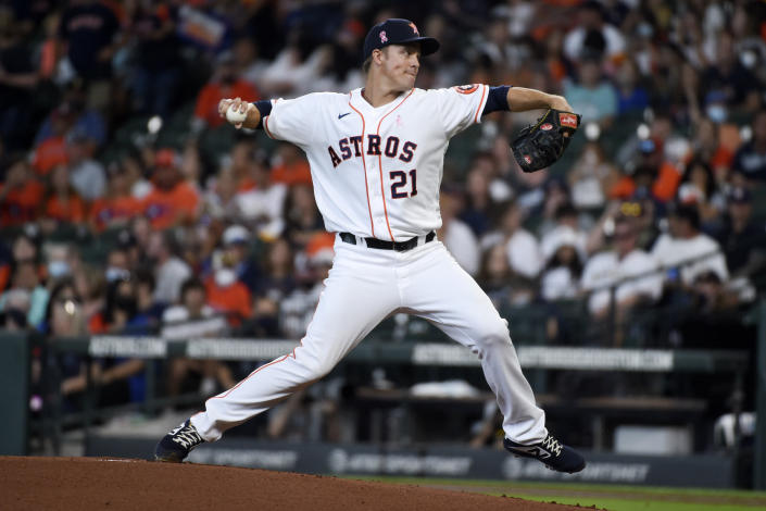 Houston Astros starting pitcher Zack Greinke delivers during the first inning of the team's baseball game against the Toronto Blue Jays, Sunday, May 9, 2021, in Houston. (AP Photo/Eric Christian Smith)