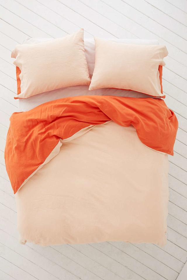 """<p>Reversible Linen Duvet Cover, from $159, <a rel=""""nofollow"""" href=""""http://www.urbanoutfitters.com/urban/catalog/productdetail.jsp?id=39080296&category=A_BED_D&color=060""""><u>urbanoutfitters.com</u></a>.<span></span></p>"""