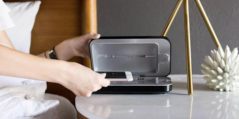 <p>Make sure you phone is clean and sanitized with the <span>PhoneSoap 3 UV Smartphone Sanitizer</span> ($80). In just 10 minutes the device can clean your phone of 99.99% of germs and viruses.</p>