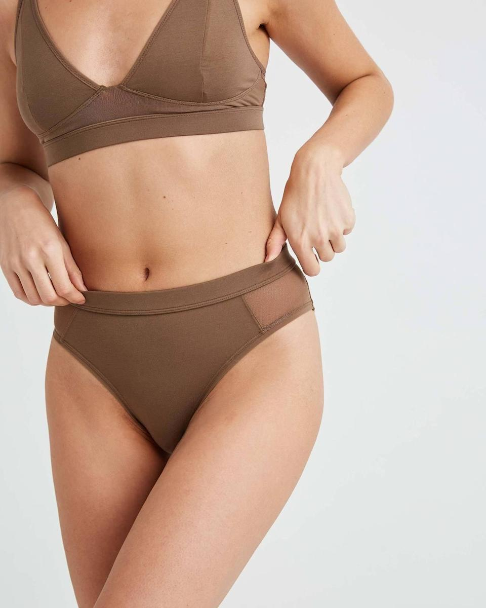 <p>Looking for a sleek and sexy brief? Try the <span>RicherPoorer Women's High Cut Brief</span> ($26).</p>