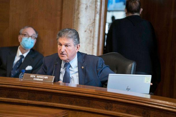 PHOTO: Sen. Joe Manchin, D-W.Va., speaks during a Senate Committee on Energy and Natural Resources hearing on the nomination of Rep. Debra Haaland to be Secretary of the Interior on Capitol Hill, Feb. 24, 2021.  (Sarah Silbiger/Pool via AP)