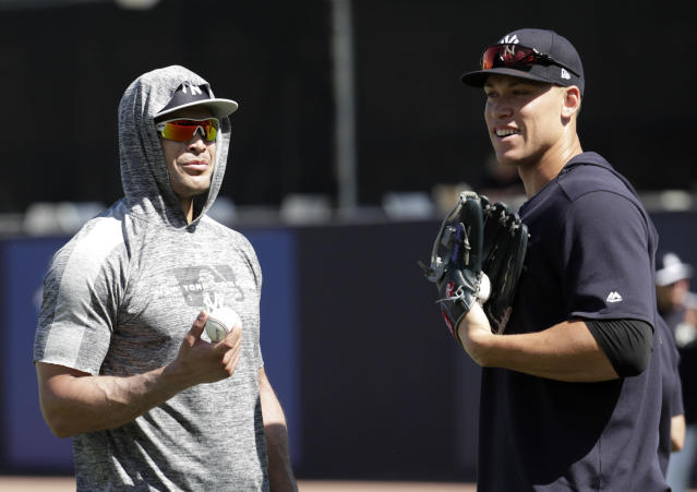 Yankees sluggers Giancarlo Stanton (left) and Aaron Judge (right) near their returns from the injured list. (AP Photo/Lynne Sladky)
