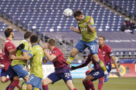 Seattle Sounders defender Shane O'Neill (27) heads in a goal against FC Dallas during the second half of an MLS playoff soccer match, Tuesday, Dec. 1, 2020, in Seattle. (AP Photo/Ted S. Warren)