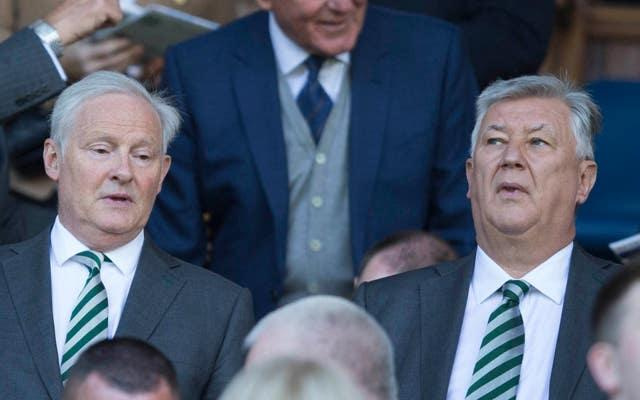 Celtic chairman Ian Bankier, left, has previously defended Peter Lawwell's hefty earnings