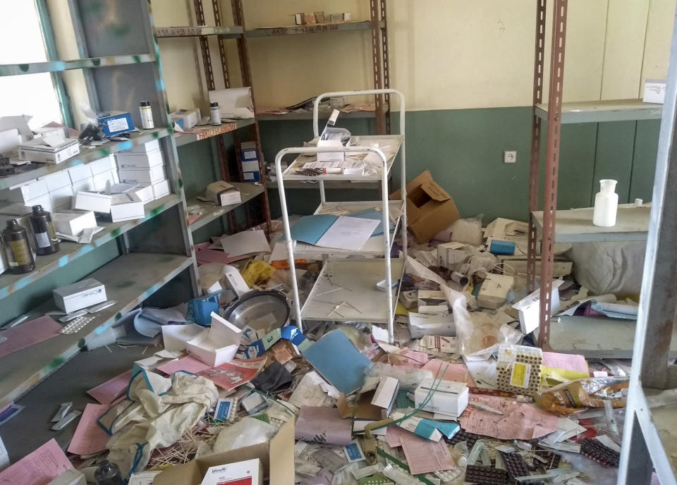 "A medical clinic that was looted and vandalized in Debre Abay, in the Tigray region of northern Ethiopia Saturday, Feb. 6, 2021. The United Nations in its latest humanitarian report on the situation in Tigray says the ""humanitarian situation continues to deteriorate"" as fighting intensifies across the northern region. (Medecins Sans Frontieres via AP)"
