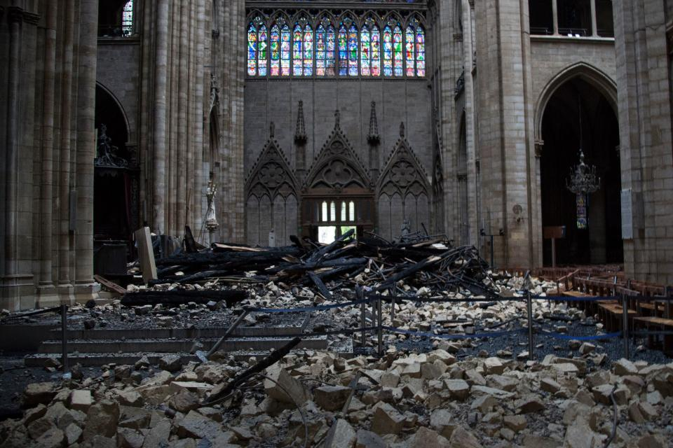 This general view shows debris inside the Notre-Dame-de Paris Cathedral in Paris on April 16, 2019, a day after a fire that devastated the building in the centre of the French capital. Photo: AMAURY BLIN/AFP/Getty Images