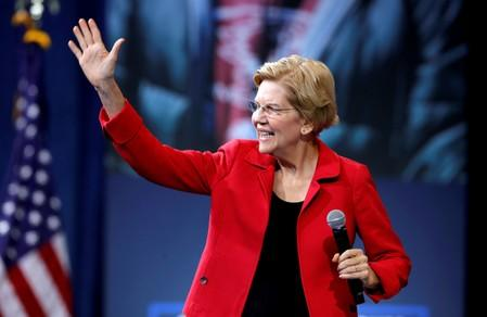 FILE PHOTO: FILE PHOTO: U.S. Democratic presidential candidate Senator Warren (D-MA) arrives onstage during a forum held by gun safety organizations the Giffords group and March For Our Lives in Las Vegas