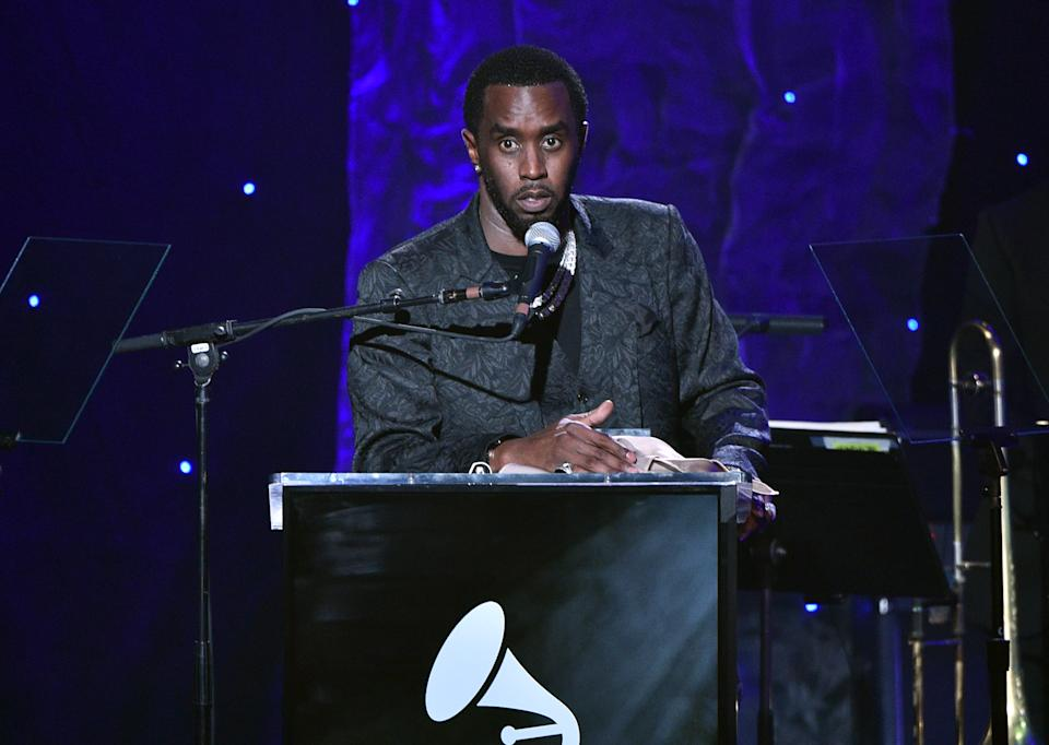 """Sean """"Diddy"""" Combs speaks onstage during the Pre-GRAMMY Gala and GRAMMY Salute to Industry Icons Honoring Sean """"Diddy"""" Combs on January 25, 2020 in Beverly Hills, California. (Photo: Gregg DeGuire/Getty Images for The Recording Academy)"""