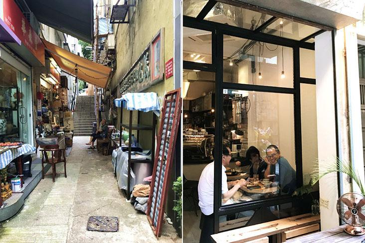 Don't forget to explore the less obvious small alleys (left). Regulars drop by Halfway Coffee, a tiny neighbourhood café for robust cappuccinos (right).