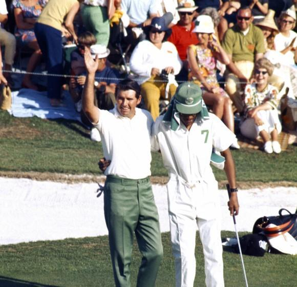 AUGUSTA, GA - APRIL 1971: Charles Coody and his caddie react to victory during the 1971 Masters Tournament at Augusta National Golf Club held April 1-4, 1971 in Augusta, Georgia. (Photo by Augusta National/Getty Images) *** Local Caption *** Charles Coody