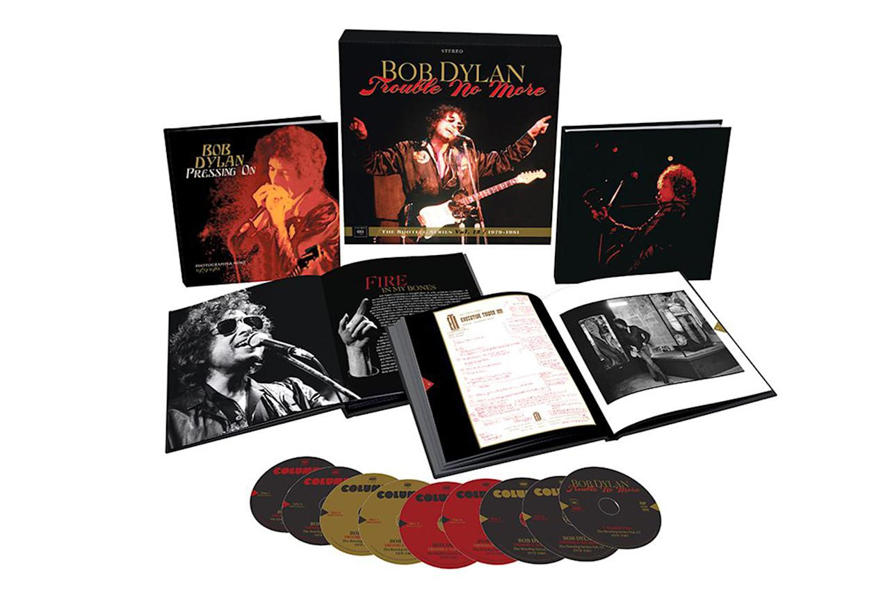 "<p>An eight-CD, one DVD, or four-LP vinyl box, this latest installment of the Bootleg Series focuses on Dylan's ""born again"" period when he wrote religious-themed songs on a trio of albums (1979's <em>Slow Train Coming</em>, 1980's <em>Saved</em>, and 1981's <em>Shot of Love</em>). Aside from when he first plugged in and went electric at the Newport Folk Festival in 1965, this was the most controversial period in Dylan's career. Not everyone found it praiseworthy at the time, but it's well worth a second listen, even if you're not religious. This set features 14 previously unreleased songs as well as a number of rare live performances. It's packaged with a hardcover book, with liner notes by Penn Jillette and others, as well as <em>Trouble No More: A Musical Film</em> on the DVD, featuring unreleased footage from Dylan's 1980 tour. (Photo: Columbia Records) </p>"