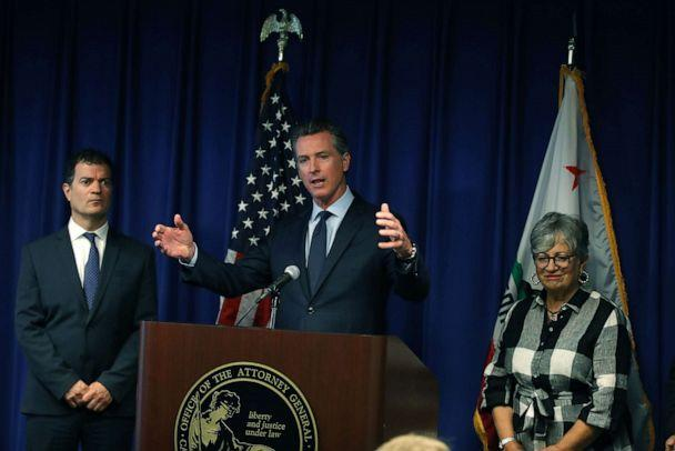 PHOTO: California Gov. Gavin Newsom (C) speaks during a news conference at the California justice department, Sept. 18, 2019, in Sacramento, Calif. (Justin Sullivan/Getty Images)