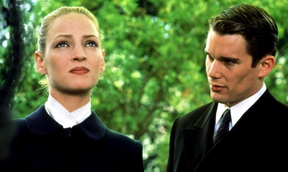 Uma Thurman and Ethan Hawke in Gattaca.