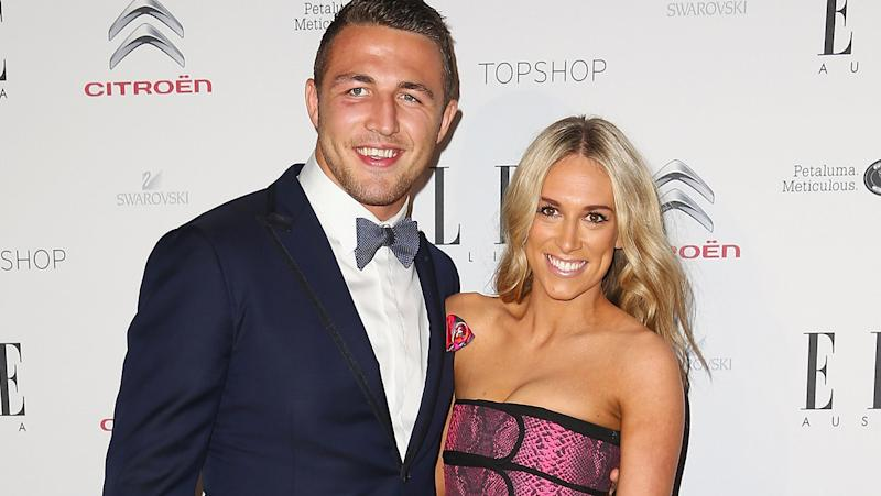 Sam Burgess and ex-wife Phoebe, pictured here at Elle Style Awards in 2014.