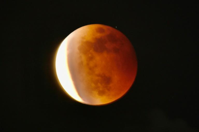 """The """"Super Blood Moon"""" as seen from Taipei in Taiwan on Wednesday night"""