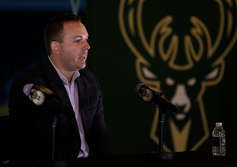 Milwaukee Bucks general manager Jon Horst speaks at a news conference in the team's new arena Monday, May 21, 2018, in Milwaukee. (AP Photo/Aaron Gash)