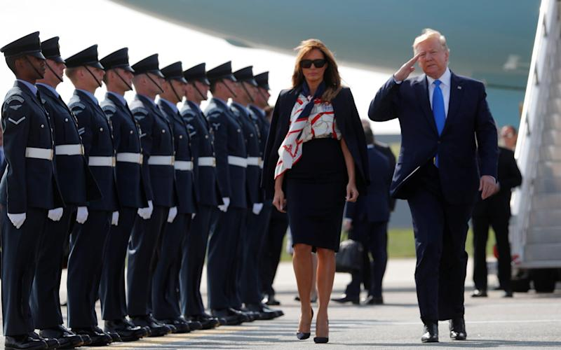 US President Donald Trump and First Lady Melania Trump arrive for their state visit to Britain, at Stansted Airport near London, UK, June 3, 2019. - REUTERS
