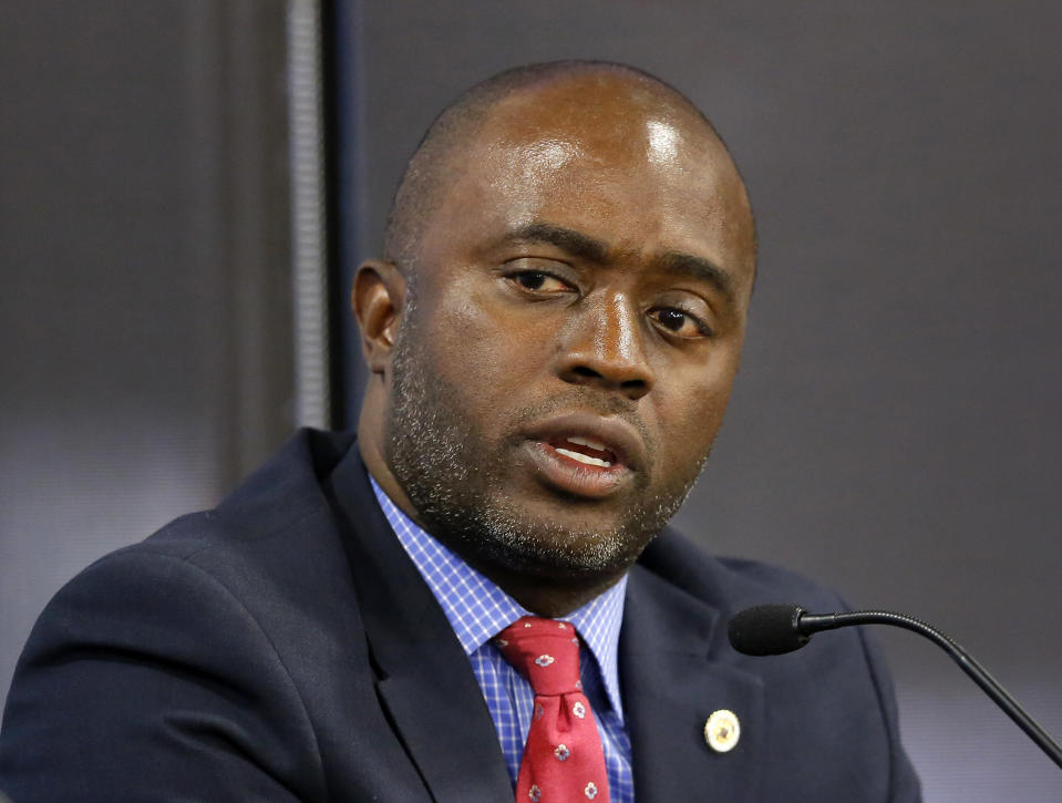 """FILE - In this Sept. 11, 2018, file photo, Assemblyman Tony Thurmond, D-Richmond, then a candidate for superintendent of public instruction, appears at a debate in Sacramento, Calif. California's State Board of Education votes Thursday, March 18, 2021, on a long-anticipated model ethnic studies curriculum for high schools across the state. The process took over two years, multiple versions, and drew nearly 100,000 public comments. """"We've worked to bring justice to what we believe the ethnic studies movement to be about,"""" Thurmond told reporters. (AP Photo/Rich Pedroncelli, File)"""