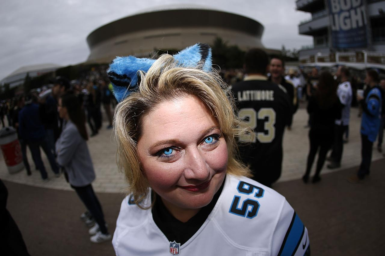 <p>A Carolina Panthers fan is seen prior to the NFC Wild Card playoff game between the New Orleans Saints and the Carolina Panthers at the Mercedes-Benz Superdome on January 7, 2018 in New Orleans, Louisiana. (Photo by Jonathan Bachman/Getty Images) </p>