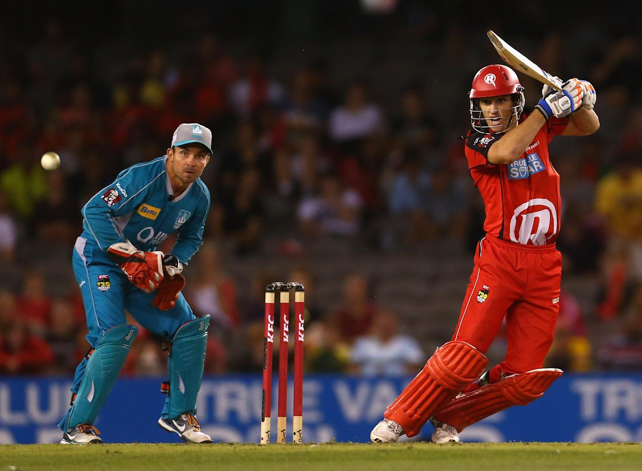 MELBOURNE, AUSTRALIA - JANUARY 15:  William Sheridan of the Renegades bats during the Big Bash League Semi-Final match between the Melbourne Renegades and the Brisbane Heat at Etihad Stadium on January 15, 2013 in Melbourne, Australia.  (Photo by Robert Cianflone/Getty Images)