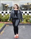 """<p>Here's an easy look almost anyone call pull together with wardrobe staples, like a moto jacket, leggings, and a pair of red heels. </p><p><a class=""""link rapid-noclick-resp"""" href=""""https://www.instagram.com/p/B4PiVQAhkAU/"""" rel=""""nofollow noopener"""" target=""""_blank"""" data-ylk=""""slk:SEE MORE"""">SEE MORE</a></p><p><a class=""""link rapid-noclick-resp"""" href=""""https://www.amazon.com/Guilty-Shoes-Shirley-1-Red-Suede/dp/B07513DDZ9?tag=syn-yahoo-20&ascsubtag=%5Bartid%7C10072.g.33547559%5Bsrc%7Cyahoo-us"""" rel=""""nofollow noopener"""" target=""""_blank"""" data-ylk=""""slk:SHOP HEELS"""">SHOP HEELS</a></p>"""