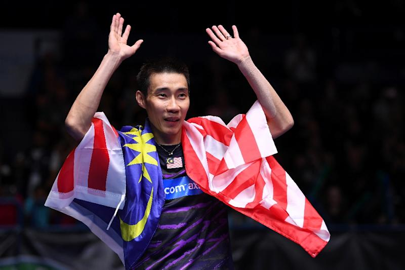 Malaysia's Lee Chong Wei celebrates his victory over China's Lin Dan in their All England Open Badminton Championships men's singles final match in Birmingham, central England, on March 12, 2017 (AFP Photo/Justin TALLIS)