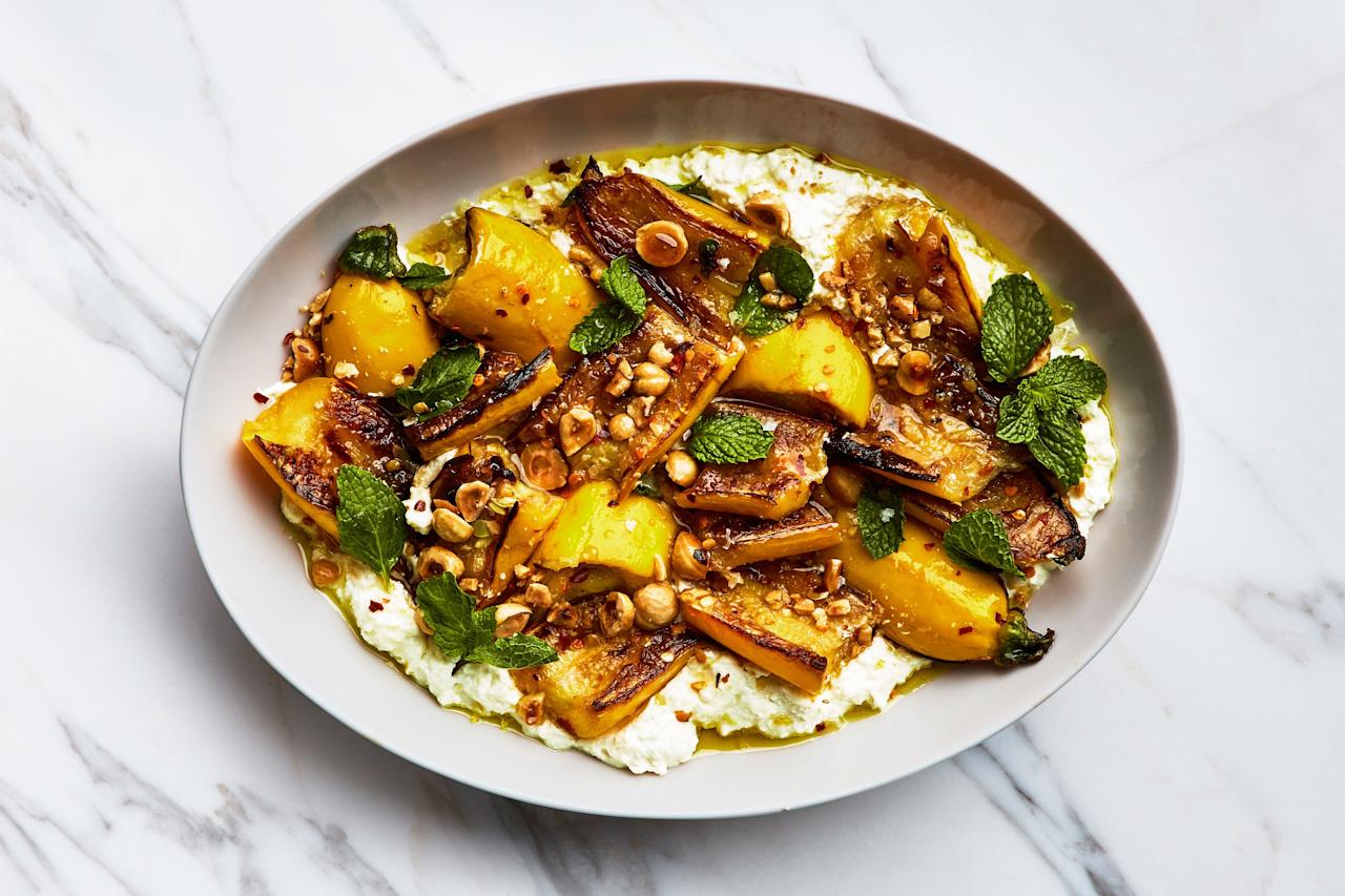 """Salt yellow squash or zucchini and let it drain in a colander for several minutes before cooking. It'll release excess liquid, concentrate the flavor, and season the veg throughout. <a href=""""https://www.epicurious.com/recipes/food/views/marinated-summer-squash-with-hazelnuts-and-ricotta?mbid=synd_yahoo_rss"""">See recipe.</a>"""