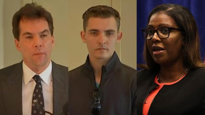Jack Burkman (left) and Jacob Wohl (center) have been subpoenaed by New York Attorney General Letitia James (right) in relation to a possible voter suppression scheme using a robocall. (Michael M. Santiago/Getty Images)