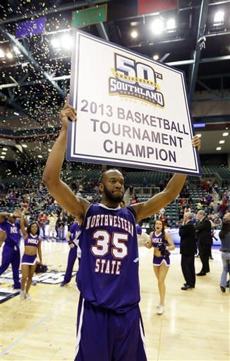 Northwestern State's O.J. Evans (35) celebrates after winning the Southland Conference championship NCAA college basketball game against Stephen F. Austin Saturday, March 16, 2013, in Katy, Texas. Northwestern State beat Stephen F. Austin 68-66. (AP Photo/David J. Phillip)