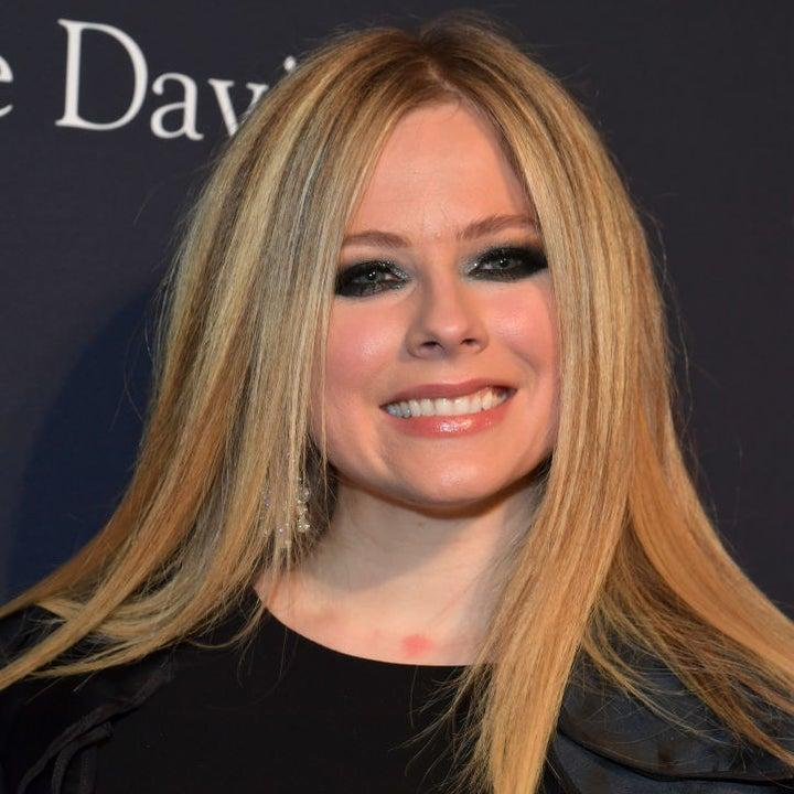 Avril on a red carpet