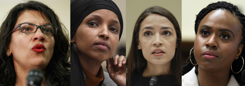 In this combination image from left; Rep. Rashida Tlaib, D-Mich., July 10, 2019, Washington, Rep. Ilhan Omar, D-Minn., March 12, 2019, in Washington, Rep. Alexandria Ocasio-Cortez, D-NY., July 12, 2019, in Washington, and Rep. Ayanna Pressley, D-Mass., July 10, 2019, in Washington. In tweets Sunday, President Donald Trump portrays the lawmakers as foreign-born troublemakers who should go back to their home countries. In fact, the lawmakers, except one, were born in the U.S. (AP Photo)