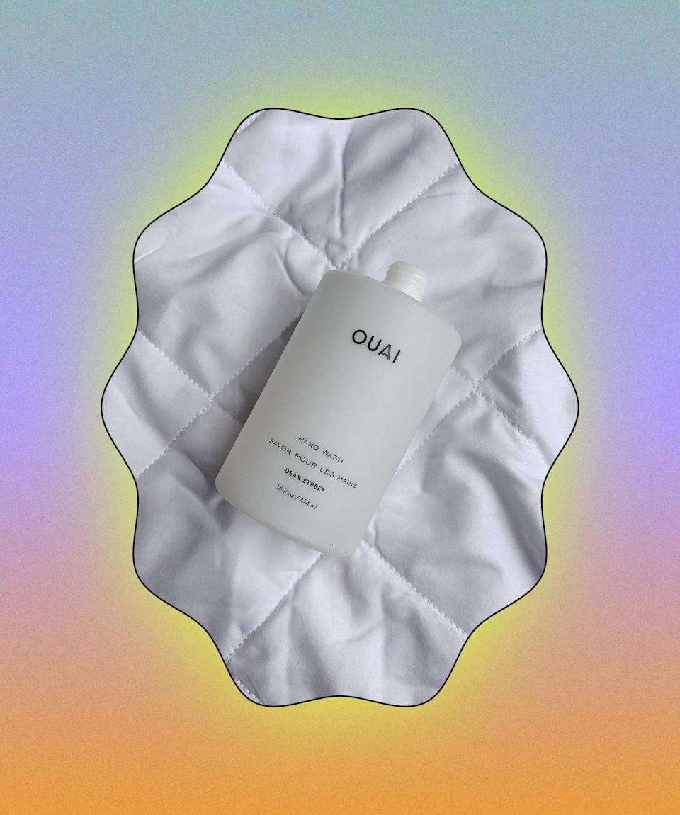 """£25 for a hand soap is steep but the bottle is enormous and the exfoliating beads make washing your hands constantly feel less of a chore and more like a spa treatment. As you can see, I had to remove the pump to get every last drop of it out!<br><br><strong>Ouai</strong> Hand Wash, $, available at <a href=""""https://www.cultbeauty.co.uk/ouai-haircare-hand-wash.html"""" rel=""""nofollow noopener"""" target=""""_blank"""" data-ylk=""""slk:Cult Beauty"""" class=""""link rapid-noclick-resp"""">Cult Beauty</a>"""