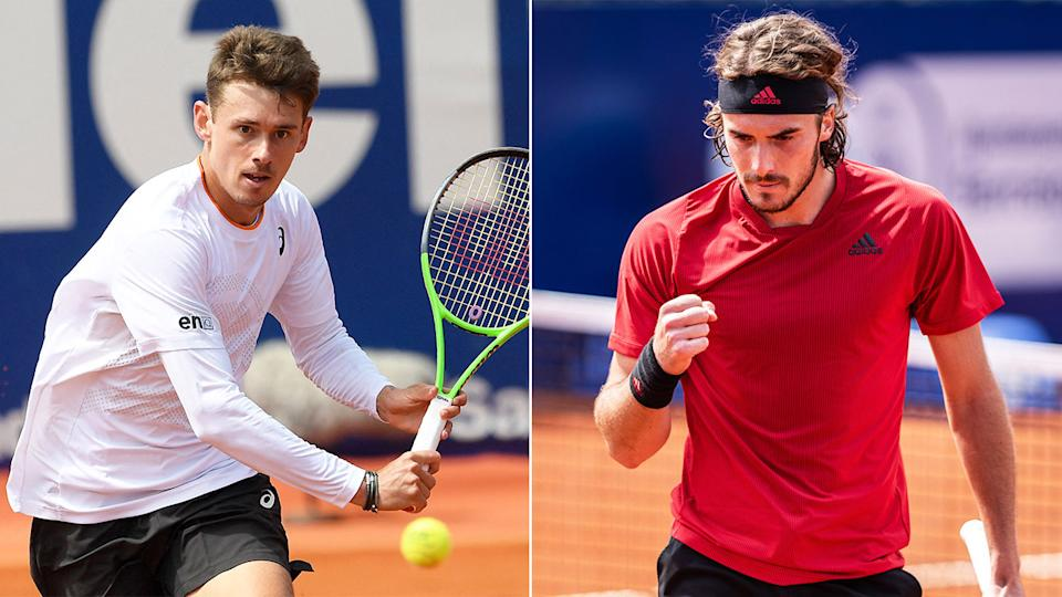 Stefanos Tsitsipas (pictured right) fist-pumping and Aussie Alex de Minaur (pictured left) hitting a volley.