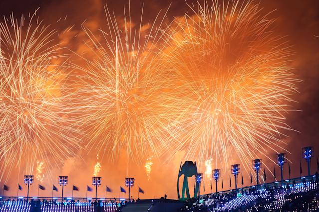 <p>Fireworks light up the sky during the closing ceremony of the PyeongChang 2018 Winter Olympic Games at Pyeongchang Olympic Stadium. Valery Sharifulin/TASS (Photo by Valery Sharifulin\TASS via Getty Images) </p>