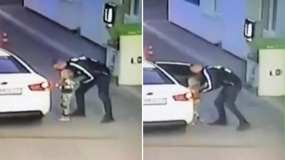 CCTV stills of the moment a man abducts a young girl from a petrol station