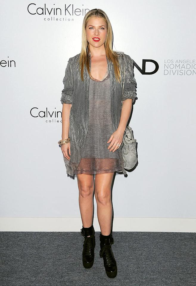 """""""Heroes"""" hottie Ali Larter toughened up her sheer Calvin Klein Collection clothing with ankle boots and a shoulder bag from the line's looks for <a href=""""http://www.calvinkleininc.com/collection/women.aspx#"""">Spring 2010</a>. Jordan Strauss/<a href=""""http://www.wireimage.com"""" target=""""new"""">WireImage.com</a> - January 28, 2010"""