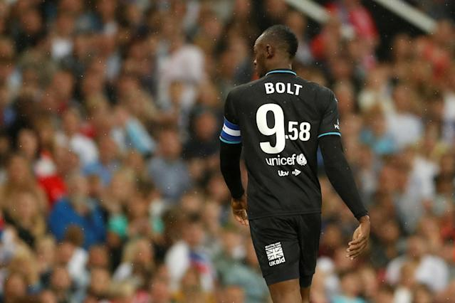 Soccer Football - Soccer Aid 2018 - England v Soccer Aid World XI - Old Trafford, Manchester, Britain - June 10, 2018 World XI's Usain Bolt Action Images via Reuters/Andrew Boyers