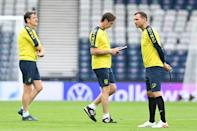 Ukraine coach Andriy Shevchenko takes training at Hampden on Monday before his side's last-16 tie against Sweden