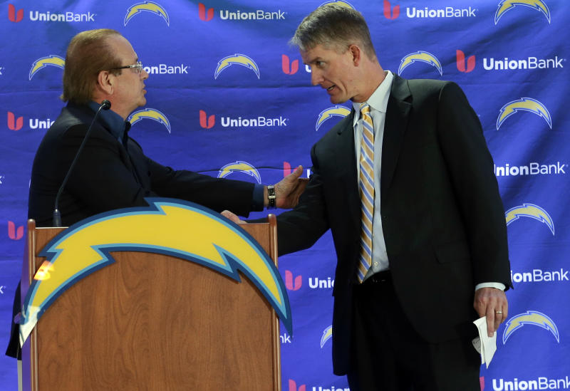 New San Diego Chargers head coach Mike McCoy, right, shakes hands with President Dean Spanos during an NFL football news conference, Tuesday, Jan. 15, 2013, in San Diego. The former offensive coordinator for the Denver Broncos replaces Norv Turner, who was fired along with general manager A.J. Smith after the Chargers finished 7-9 and missed the playoffs for the third straight season. (AP Photo/Gregory Bull)
