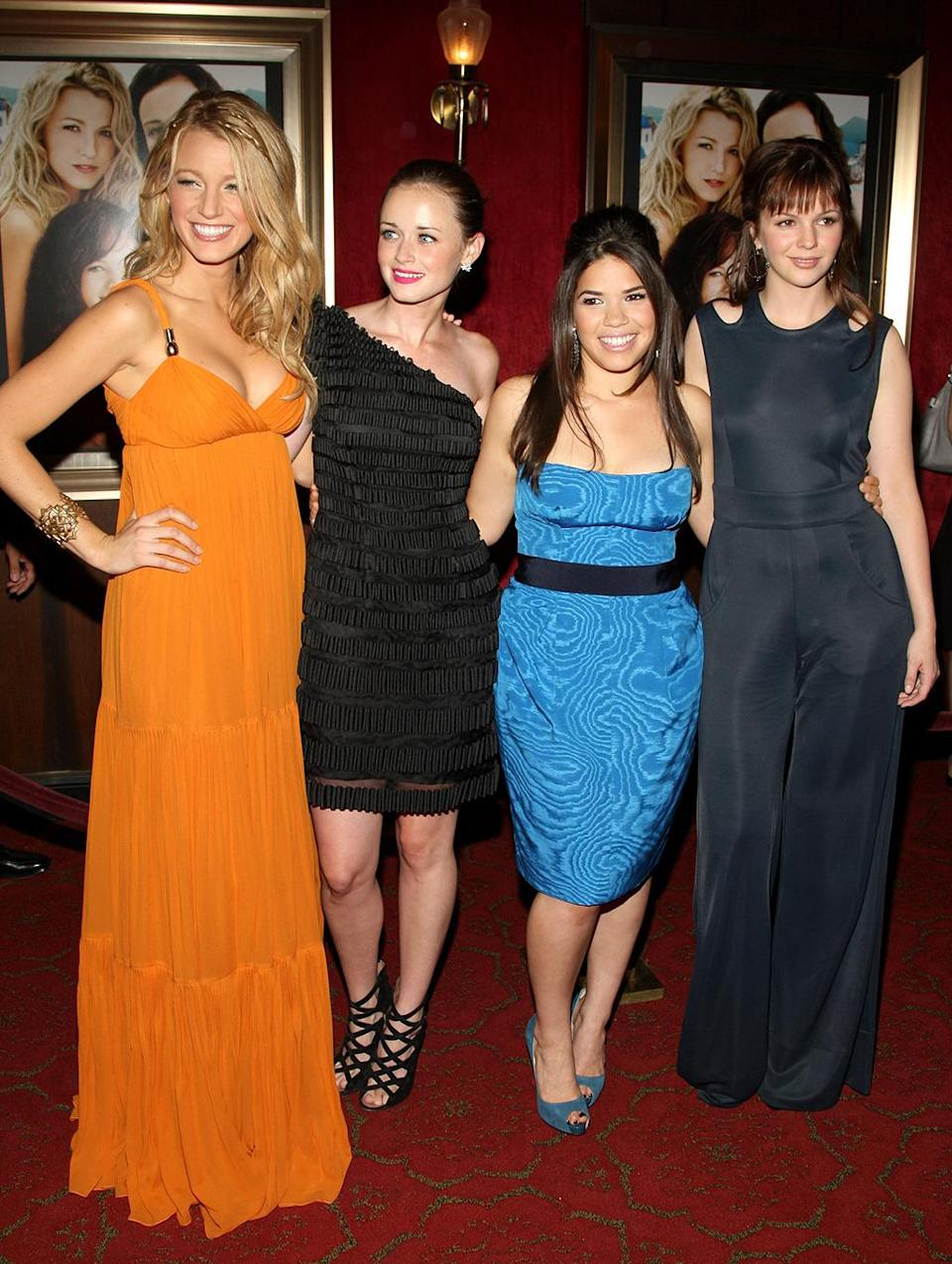 <p>Lively reprised her role as Bridget in <i>The Sisterhood of the Traveling Pants 2</i>. She joins co-stars Alexis Bledel, America Ferrera, and Amber Tamblyn at the premiere on July 28, 2008. <i>(Photo: Stephen Lovekin/Getty Images)</i></p>