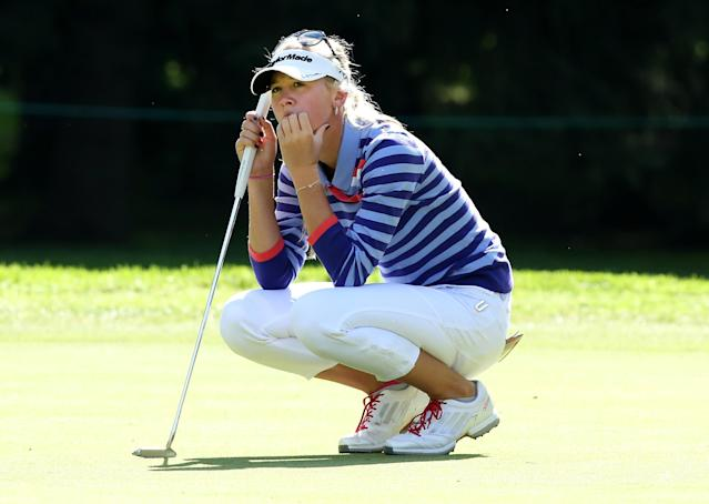 EDMONTON, AB - AUGUST 22: Jessica Korda waits to putt on the firs green during the CN Canadian Women's Open at Royal Mayfair Golf Club on August 22, 2013 in Edmonton, Alberta, Canada. (Photo by Stephen Dunn/Getty Images)