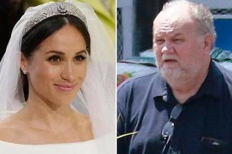 Meghan Markle on her wedding day (Left) and father Thomas (Getty)