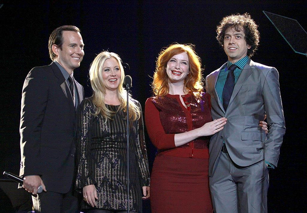 "Later, Amy's real-life husband, Will Arnett, joined his ""Up All Night"" TV wife Christina Applegate on stage, along with ""Mad Men"" star Christina Hendricks and her actual husband Geoffrey Arend. Got all that? (12/5/2011)"
