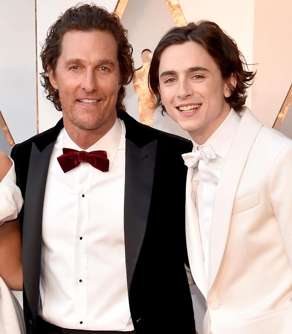 """<p>The veteran actor, who played Chalamet's father in <i>Interstellar</i>, left the young star a thoughtful voicemail after filming wrapped in 2014 that had a lasting impact on Chalamet, who memorized and re-enacted the recording for <a href=""""https://twitter.com/gqmagazine/status/969697255824543744?lang=en"""" rel=""""nofollow noopener"""" target=""""_blank"""" data-ylk=""""slk:GQ"""" class=""""link rapid-noclick-resp""""><em>GQ</em></a>. </p> <p>Years later, McConaughey spoke to <a href=""""https://www.facebook.com/GoodMorningAmerica/videos/10155459487207061"""" rel=""""nofollow noopener"""" target=""""_blank"""" data-ylk=""""slk:Good Morning America"""" class=""""link rapid-noclick-resp""""><i>Good Morning America</i></a> at the Oscars in 2018 about his former costar, who was the youngest actor since 1944 to be nominated for Best Actor for his turn in <i>Call Me By Your Name.</i></p> <p>""""Here's what I saw — I saw natural talent, and I also saw real confidence,"""" he said of Chalamet. """"And when you see his work in [the movie], it's a fierce performance. I mean he's dangerous in that performance, and completely natural. He didn't have a false moment in it, and he's here to stay. [...] It's true, you see his work, it speaks for itself.""""</p>"""